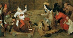 peter bruegel the elder, the battle between carnival and lent (detail)